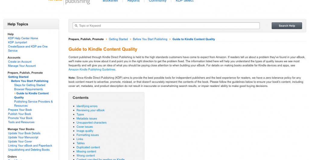 Guide to Kindle Content Quality 1