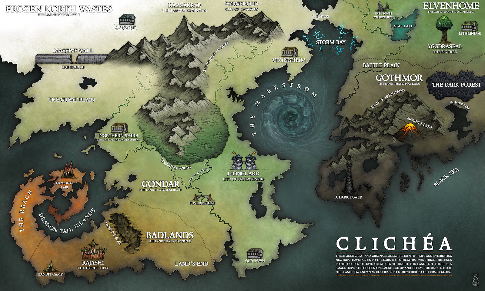 Fantasy Map of Clichea by Sarithus